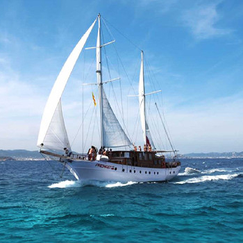 Rent this Mediterranean Gulet in Barcelona or surroundings and enjoy our wooden boat ride.