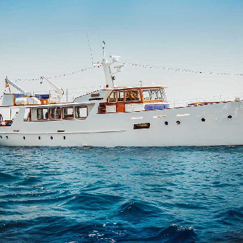 Rent the Falcao boat in Barcelona or surroundings and enjoy our wooden boat ride.